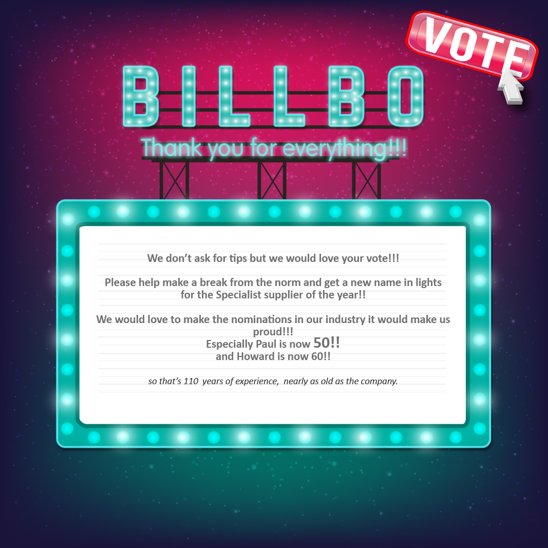 Vote Billbo specialist supplier of the year 2017